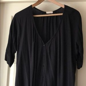 Everly Black Button Blouse